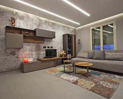 arredo soggiorno stile industriale gela